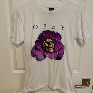 Obey shirt with flower and skull